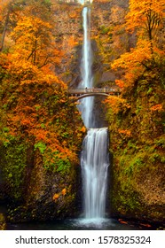 Multnomah Falls in the Columbia River Gorge of Oregon with beautiful fall colors.