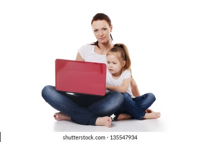 Mum with a daughter at the laptop isolated