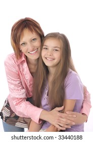 mum and  daughter on white background