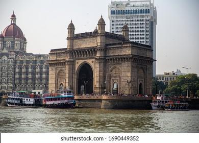 Mumbai - 26 Nov 2016: Gateway Of India and Taj Mahal Hotel from the sea.