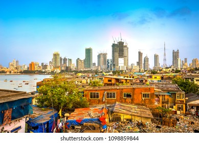 Mumbai cityscape with a big contrast between poverty and wealth, Maharashtra, India