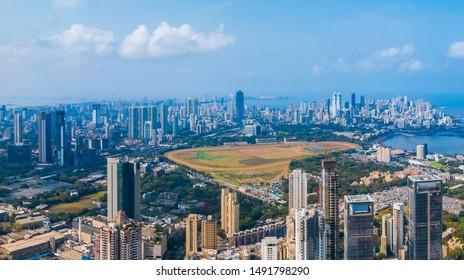 Mumbai cityscape with Mahalaxmi Racecourse in the centre
