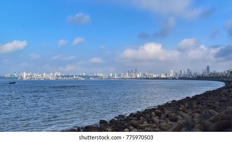 Mumbai - December 2017: Beautiful view of marine drive. It's one of the famous spot to visit. (India)