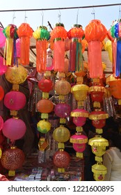 Mumbai / India 05 November 2018 Diwali Lantern or Diwali Kandil ( Diwali decorative lamps ) for sale on Diwali festival at Goregaon market in Mumbai  Maharashtra India