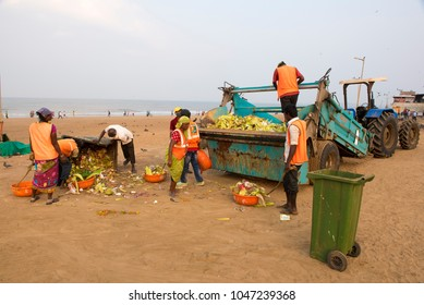 Mumbai / India 10  March 2018 Municipal workers clean the dirty garbage from the Juhu beach in the morning at Mumbai  Maharashtra