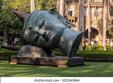 MUMBAI INDIA 10.02.2018  - statue in front of the museum Chhatrapati Shivaji Maharaj Vastu Sangrahalaya or Prince of Wales Museum in Mumbai, India