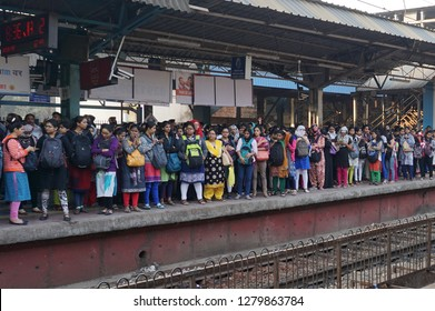 Mumbai, India 10-January-2019 : Commuters crowd on the Railway platform at Thane station on trans-harbor line waiting for train. The trains are more than usual crowded owing to BEST union strike