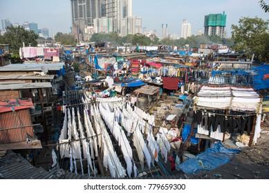 Mumbai / India 17  December 2017 Dhobi Ghat is a famous open air clothes washing laundry colony at Mahalaxmi in Mumbai Maharashtra India