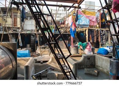 Mumbai / India 17  December 2017 Inside view of the open air clothes washing laundry at Dhobi Ghat  Mahalaxmi in Mumbai Maharashtra India
