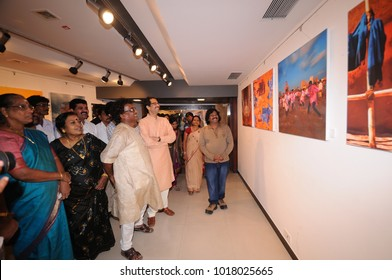 MUMBAI, INDIA, 17 JANUARY 2016 : People visit art exhibitions of modern and contemporary art at Jehangir Art Gallery, Mumbai, it is famous art gallery in India.