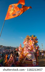 Mumbai / India 17 September 2018 Devotees performing last Aarti on the occasion of Ganpati  immersion in Juhu Beach on the fifth day at Juhu Mumbai India