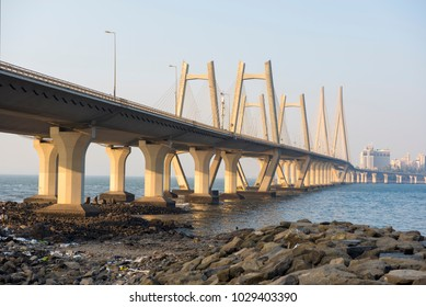 Mumbai / India 18 February 2018 View of the Bandra Worli Rajiv Gandhi Sea link bridge from the end of the Worli village at Worli in Bombay Mumbai Maharashtra  India