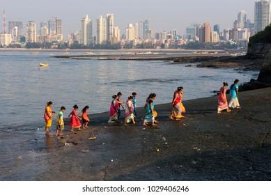 Mumbai / India 18 February 2018 Indian Koli Fisherwomen at Worli village beach in Bombay Mumbai Maharashtra  India