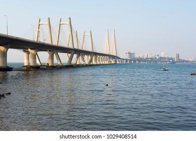 Mumbai / India 18 February 2018 View of the Bandra Worli Rajiv Gandhi Sea link bridge from the end of the Worli village at Worli in Bombay Mumbai Maharashtra  India