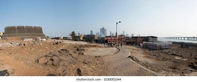Mumbai / India 18 February 2018 Panoramic view of Worli Fort and Worli village in Bombay Mumbai Maharashtra  India
