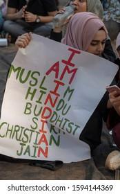 Mumbai / India 19 December 2019 Indian muslim women with poster protests against anti muslim controversial Citizenship Amendment Bill ( CAB CAA ) in Mumbai Maharashtra India