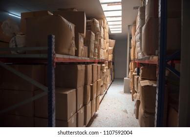Mumbai / India 19 May 2018 Inside view of Stacked boxes in a warehouse in Mumbai Maharashtra India