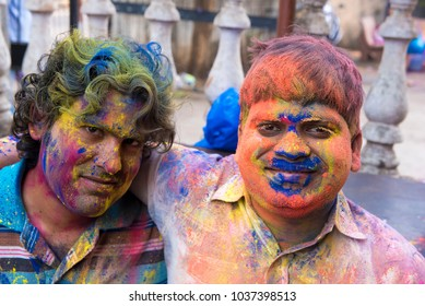 Mumbai / India 2  March 2018 Close up portraits of Indian young men with Holi colors on face  in Bombay Mumbai Maharashtra  India