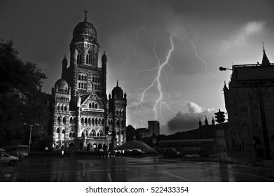 Mumbai / India  2 September 2010   black and white  Municipal Corporation Building and  wet road at mumbai maharashtra  India