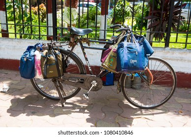 Mumbai / India 20 April 2018 Dabbawala Bicycle couriers have been ferrying food boxes around Mumbai At Churchgate Railway in Mumbai  Maharashtra