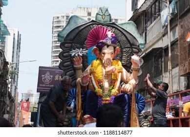 Mumbai / India 23 september 2018 Lord Ganesh on His way for immersion (Ganpati visarjan procession) at  Mumbai Maharashtra India