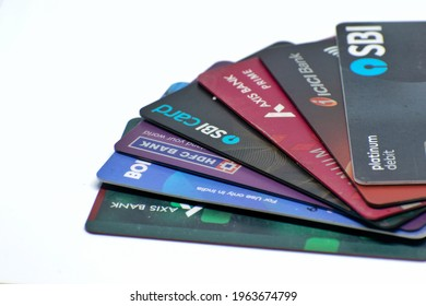 Mumbai, India - 24 April 2021, A picture of payment cards including debit and credit cards of various Indian banks including HDFC, ICICI, Axis, SBI and BOI.