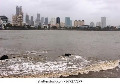 Mumbai, India -  24 June, 2017: The view of Mumbai's cityscape, from Worli Bay, during the monsoon