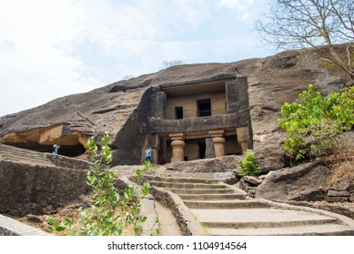 Mumbai / India 25 May 2018 Kanheri Caves  No1 is a vihara a Buddhist monastery The entrance is framed by two large pillars at Sanjay Gandhi National Park Borivali in Mumbai Maharashtra India