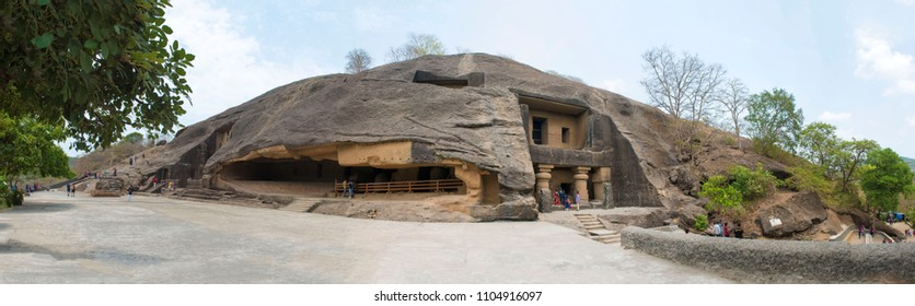 Mumbai / India 25 May 2018 Panoramic view of man made Kanheri Caves Cave No 1 (right) and Cave No 2 at Sanjay Gandhi National Park Borivali in Mumbai Maharashtra India