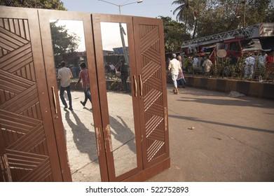 Mumbai / India 25 November 2016 ,  major fire broke out in Oshiwara area  furniture market    wooden cupboard keep away from fire at Jogeshwari Mumbai Maharashtra India