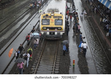 Mumbai / India 29 August 2017  Nonstop Heavy Rain in Mumbai  Local Train Affected by Flood  at Dadar railway station Mumbai Maharashtra  India