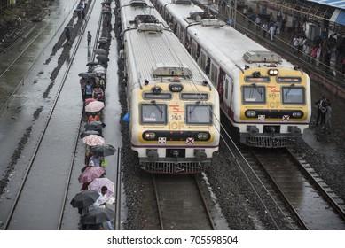 Mumbai / India 29 August 2017  Nonstop Heavy Rain in Mumbai  Local Train Affected by Flood  at Dadar railway station Mumbai Maharashtra  India