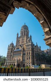 Mumbai / India 3 February 2018 Bombay Municipal Corporation Building (1893) or BMC building in Bombay Mumbai Maharashtra  India