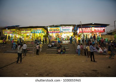 Mumbai / India 3 February 2018 Famous Street Food Shops at Juhu Beach in Bombay Mumbai Maharashtra  India