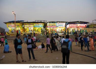 Mumbai / India 3 February 2018 Famous Street Food Shops at Juhu Beach in Bombay Mumbai Maharashtra  India