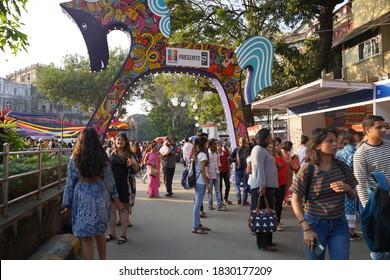 MUMBAI, INDIA, 5 FEBRUARY 2020 : Unidentified people visit and enjoying the Kala Ghoda Arts Festival Mumbai, Kala Ghoda Arts Festival is the most popular art and cultural festival in Mumbai
