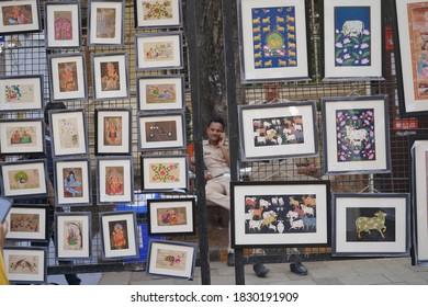 MUMBAI, INDIA, 5 FEBRUARY 2020 : Unidentified artist display their art work at the Kala Ghoda Arts Festival Mumbai, Kala Ghoda Arts Festival is the most popular art and cultural festival in Mumbai