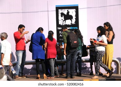 MUMBAI, INDIA, 8 FEBRUARY 2015 : unidentified People enjoying during the Kala Ghoda Arts Festival Mumbai, Kala Ghoda Arts Festival is the most popular cultural festival in Mumbai