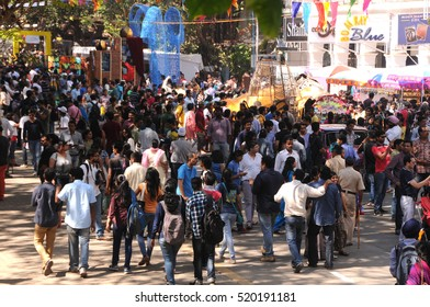 MUMBAI, INDIA, 8 FEBRUARY 2015 : unidentified people enjoy during the Kala Ghoda Arts Festival Mumbai, Kala Ghoda Arts Festival is the most popular cultural festival in Mumbai.