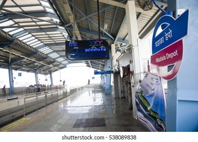 Mumbai / India 9 February 2014  mumbai wadala  depot India's first  monorail in mumbai maharashtra  India