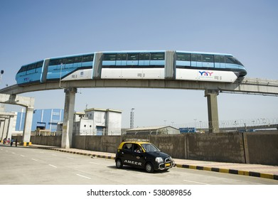 Mumbai / India 9 February 2014 India's first  monorail system in the city of Mumbai  maharashtra,  India