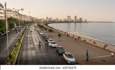 MUMBAI, INDIA - APRIL 16, 2017 : Marine Drive - A famous landmark in Mumbai attracted by many tourist visiting India
