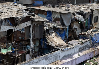 MUMBAI, INDIA - APRIL 19, 2013 - View on Dharavi slums in Mumbai, India. One of the largest slums in the world