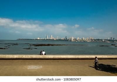 Mumbai, India - April 21, 2018 :Marine Drive - A famous landmark in Mumbai attracted by many tourist visiting India