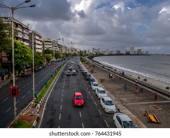 MUMBAI, INDIA - AUGUST 13, 2017 : Marine Drive - A famous landmark in Mumbai attracted by many tourist visiting India