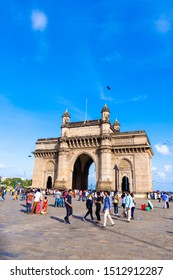 Mumbai, India, August 2019: Local and International Tourist visiting the famous Gateway of India in Mumbai city. Mumbai city also known as the Financial capital of India.