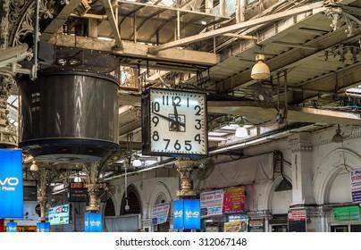 MUMBAI, INDIA - AUGUST 27, 2015 : Interior of Terminus railway station in Mumbai, India.