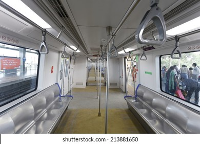 MUMBAI, INDIA - August 29th 2014:Latest Mumbai Metro train empty coach from inside. Comfortable, modern , fast, new & air conditioned way of transport in Mumbai India.