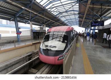 MUMBAI, INDIA - August 29th 2014:Mumbai Monorail train. Comfortable, modern , fast, new & air conditioned way of transport in Mumbai India.