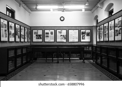 MUMBAI, INDIA - AUGUST 4, 2016: the gallery represented gandhi biography at gandhi museum in mumbai. this is black and white picture.